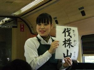 Nummerngirl im Zug