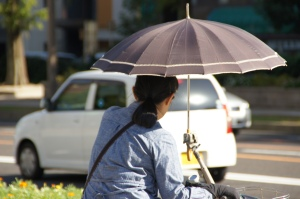 Regenschirmhalter auf Fahrrad