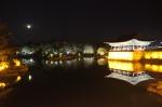 Vollmond über dem Anapji Pond in Gyeongju
