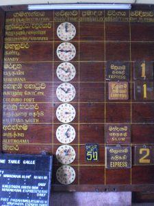 Zug-Anzeigetafel in Galle
